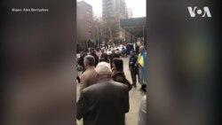 Гімн України біля виборчої дільниці у Нью-Йорку. Відео