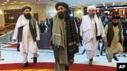資料照:塔利班領導人抵達莫斯科參加國際和平會議。(2021年3月18日)