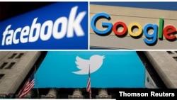 ILUSTRACIJA - Kombinacija fotografija zaštitnih znakova Fejsbuka, Gugla i Tvitera.