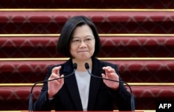 Taiwan President Tsai Ing-wen speaks during a press conference at the presidential office in Taipei in Jan. 22, 2020.