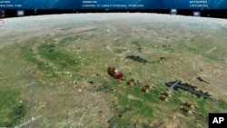 This photo provided by the North American Aerospace Defense Command shows the Santa Tracker, Dec. 24, 2020. This is the 65th year that the U.S.-Canadian operation has tracked the jolly old man.