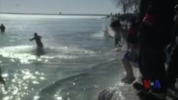 不畏罕见严寒气候 美国多地冬泳出台