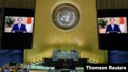 스가 요시히데 일본 총리가 26일 뉴욕에서 열린 유엔 총회에서 비디오 연설을 하고 있다.