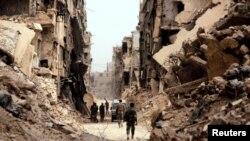 سربازان در دمشق در سوريه، ماه مه ۲۰۱۸