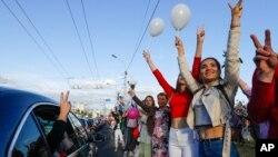 Učesnici protesta u Minsku, u Belorusiji, 13. avgust 2020.