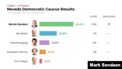 Nevada Democratic Caucus, Partial Results