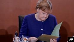 资料照片--德国总理默克尔。 (2020年1月8日)