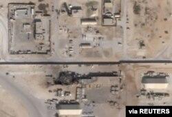 سیٹلائٹ کی اس تصویر میں عراق میں امریکی فوجی اڈے الاسد پر ایرانی میزائل حملے سے ہونے والے نقصانات کی نشاندہی ہوتی ہے۔
