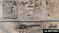 What appears to be new damage at Al Asad air base in Iraq is seen in a satellite picture taken Jan. 8, 2020.