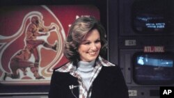 FILE - In this Nov. 28, 1976, filephoto, CBS sportscaster Phyllis George is seen in New York.