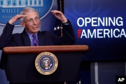 Dr. Anthony Fauci, director of the National Institute of Allergy and Infectious Diseases, speaks about the coronavirus in the James Brady Press Briefing Room of the White House, April 16, 2020.