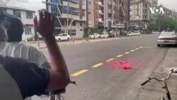 """緬甸示威者噴塗紅漆抗議軍方鎮壓""""鮮血""""染紅城市街頭"""