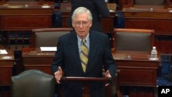 FILE - In this image from video, Senate Minority Leader Mitch McConnell of Kentucky speaks on the Senate floor, at the U.S. Capitol in Washington, Feb. 13, 2021.