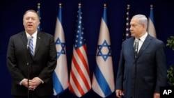 美国国务卿蓬佩奥10月18日在耶路撒冷同以色列总理内塔尼亚胡对记者发表讲话。