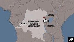 Ramani ikionyesha mji wa Beni, DRC.