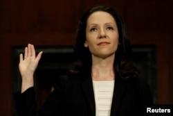 FILE - Allison Jones Rushing is sworn in before a Senate Judiciary confirmation hearing on her nomination to be a United States circuit judge for the Fourth Circuit, on Capitol Hill in Washington, Oct. 17, 2018.