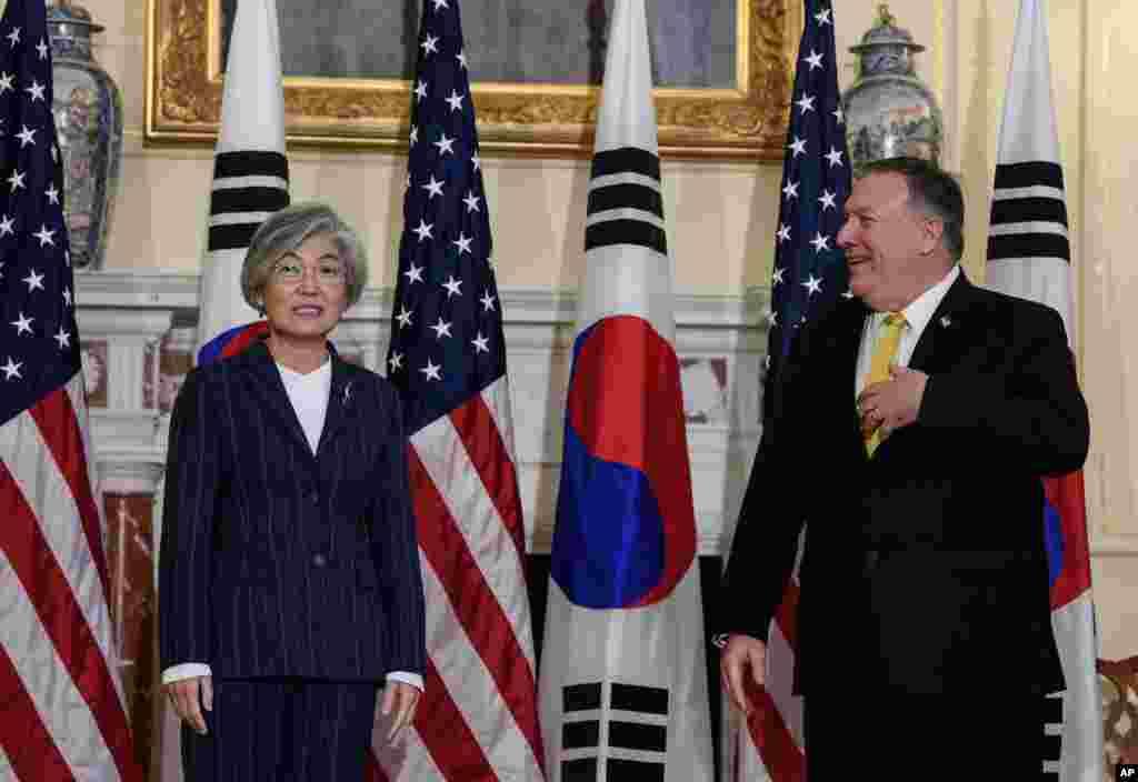 مایک پمپئو وزیر خارجه آمریکا روز دوشنبه میزبان وزیر خارجه کره جنوبی بود.