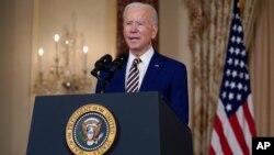 រូបឯកសារ៖ លោកប្រធានាធិបតី Joe Biden ថ្លែងសុន្ទរកថាស្តីពីគោលនយោបាយការបរទេសនៅឯក្រសួងការបរទេសសហរដ្ឋអាមេរិកនៅរដ្ឋធានីវ៉ាស៊ីនតោន កាលពីថ្ងៃទី៤ ខែកុម្ភៈ ឆ្នាំ២០២១។