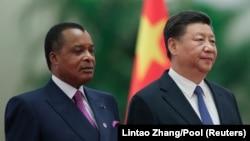 Président Denis Sassou N'guesso na mokokani wa ye Xi Jinping ya Chine na Beijing, na Chine, 5 septembre 2018.