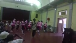 Dance Group Entertaining Guests At Christmas