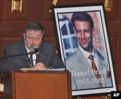 FILE - Judea Pearl, father of slain American journalist Daniel Pearl, speaks at an event honoring the memory of his son, in Miami Beach, Florida, April 15, 2007.