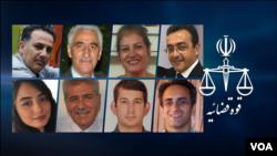 2020-ci il dekabrın 23-də həbsə məhkum edilmiş Yuxarı soldan: Omid Afaği, Adib Hağpacuh, Mahnaz Cannesar, Araş Rasexi. Aşağı soldan: Maral Rəsti, Mehrallah Əfşar, Nasim Ğanavatian, Fərhad Ameri.
