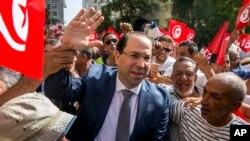 Le Premier ministre tunisien Youssef Chahed, lors du dépôt de sa candidature à la présidentielle anticipée en Tunisie, le 9 août 2019.