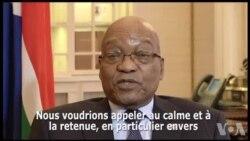 Réactions de Jacob Zuma sur la crise au Zimbabwe (vidéo)