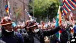 Supporters of former President Evo Morales march in La Paz, Bolivia, Nov. 15, 2019