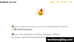 A screenshot of World Emoji Day's Website main page, worldemojiday.com.