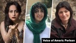 از راست: زینب جلالیان، نرگس محمدی، و سهیلا حجاب