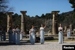 일본 도쿄올림픽을 위한 그리스 현지 성화 채화 현장