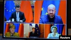 រូបឯកសារ៖ ប្រធានគណៈកម្មការសហភាពអឺរ៉ុបអ្នកស្រី Ursula von der Leyen ប្រធានក្រុមប្រឹក្សាសហភាពអឺរ៉ុបលោក Charles Michel អ្នកស្រី Angela Merkel លោក Emmanuel Macron និងលោក Xi Jinping ចូលរួមកិច្ចប្រជុំរួមគ្នាមួយតាមប្រព័ន្ធអ៊ីនធឺណិត កាលពីថ្ងៃទី៣០ ខែធ្នូ ឆ្នាំ២០២០។