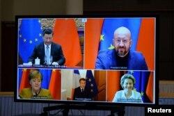 Avrupa Komisyonu Başkanı Ursula von der Leyen, Avrupa Birliği Konseyi Başkanı Charles Michel, Almanya Başbakanı Angela Merkel, Fransa Cumhurbaşkanı Emmanuel Macron ve Çin Devlet Başkanı Xi Jinping video konferans görüşmesi yapıyor, 30 Aralık 2020.