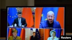 European Commission President Ursula von der Leyen, European Council President Charles Michel, German Chancellor Angela Merkel, French President Emmanuel Macron and Chinese President Xi Jinping hold a video conference, Dec. 30, 2020.