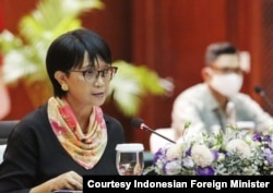 Indonesian Foreign Minister Retno Marsudi announced via virtual news conference, July 23, 2020, that Indonesia is set to begin phase 3 clinical trials of coronavirus vaccines from Bio Farma and Sinovac Biotech. (Courtesy Indonesian Foreign Minister)