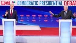 VOA英语视频: 拜登桑德斯无现场观众辩论 各提抗击新冠病毒计划