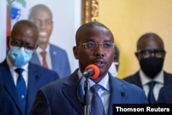 FILE PHOTO: Interim Prime Minister Claude Joseph gives a press conference, July 20, 2021.