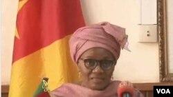 FILE - Marie-Thérèse Abena Ondoa, Cameroon's minister of women's empowerment and the family, in Yaounde, Feb. 2019. (Moki Edwin Kindzeka/VOA)