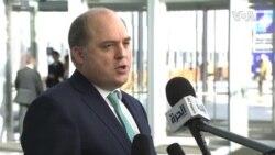 英国国防大臣华莱士2020年2月12日说英美都同意从长远来说应该将华为排除出通信网络系统(北约视频)