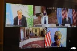 U.S. Secretary of State Antony Blinken speaks during a virtual meeting with U.N. Secretary-General Antonio Guterres via videoconference from the State Department in Washington, March 29, 2021.