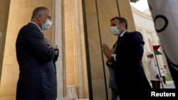 PM Irak Mustafa al-Kadhimi bertemu Presiden Perancis Emmanuel Macron di Baghdad, Rabu (2/9).