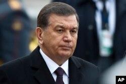 FILE - Uzbek President Shavkat Mirziyoyev is pictured in Moscow, April 5, 2017.