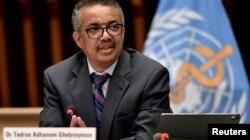 ARCHIVO - El director general de la OMS, Tedros Adhanom Ghebreyesus, en reunión informativa de la agencia desde su sede en Ginebra. Abril 12 de 2021.