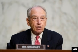 FILE - Sen. Charles Grassley, R-Iowa, speaks during a Senate Judiciary Committee hearing, Oct. 14, 2020, on Capitol Hill in Washington.