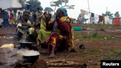 Familjet kongoleze duke përgatitur ushqim në një kamp refugjatësh