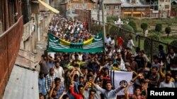 Protestations contre la révocation par l'Inde du statut d'autonomie spéciale dans la partie du Cachemire qu'elle contrôle, Srinagar, le 11 août 2019.