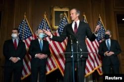 FILE - U.S. Senator John Thune, R-S.D., speaks during a news conference at the U.S. Capitol in Washington, Dec. 8, 2020.