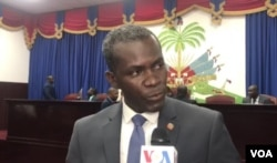 Ruling party Deputy Jean Michel Moïse criticizes opposition lawmakers, Sept. 3, 2019.