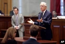 Dr. William Schaffner, a professor of preventive medicine at Vanderbilt University Medical Center, speaks to members of the Tennessee House of Representatives on March 16, 2020, in Nashville, Tenn.